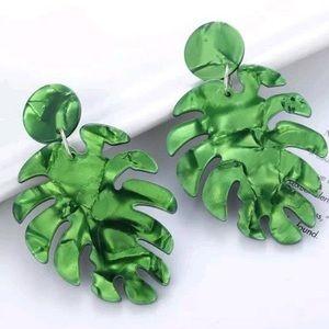 NEW Green Acrylic Banana Leaf Drop Earrings